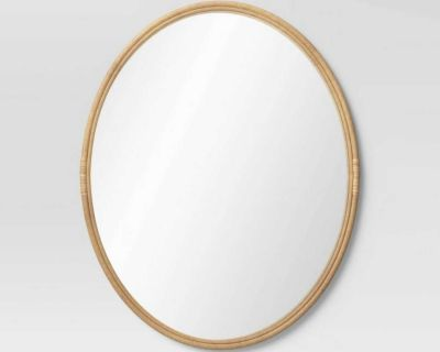 Like New Oval Rattan Mirror Natural