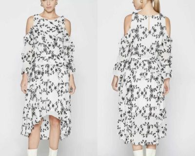 NWT $445 Joie Alpheus Floral Eyelet Cold Shoulder Ruffled Dress XS