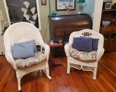 Real wicker rocker and chair