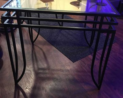 2 Glass and Rod Iron End Tables