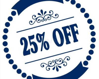 25% off Blue Dot items