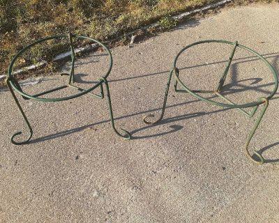 Green metal plant stand x2