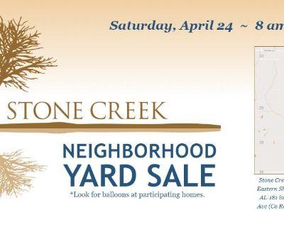 Sat. April 24 - Stone Creek Neighborhood Yard Sale