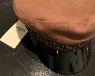 Fendi Camel & Brown Patent Captain s Hat