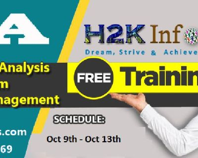 FREE Training on  Business Analysis & Project Management (Oct 9th -13th) by H2K Infosys.