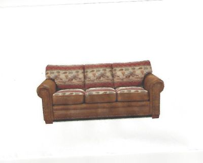 Rustic Queen Bed Sleeper Sofa with a Deer Pattern For Sale