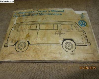 1974 bay window bus owner's manual