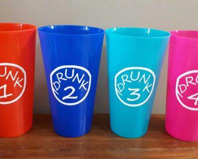 "Set of 4 (same colour) ""Drunk 1-4"" tumblers - more info in description"