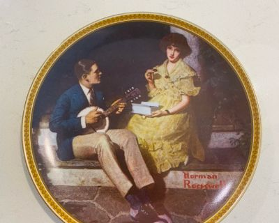 Collectible - Norman Rockwell Pondering on the Porch Vintage Plate