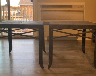 Two Metal/Stone Plate Side Tables