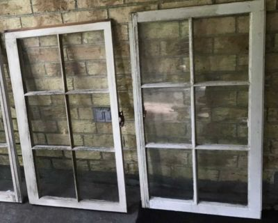 36X30 old Windows for decor $10 each 3 have crack in 1 pane 1 has chip wood out