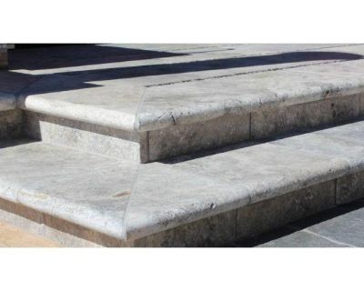 SILVER TRAVERTINE 16X24 HONED UNFILLED BRUSHED DOUBLE BULLNOSE POOL COPINGS PRICE