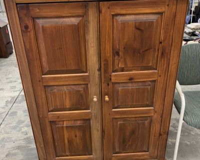 Posted 9/16. Wood Cabinet To Repurpose **Pickup West JC Can be purchased at Frenchie s Indoor Tag Sale Friday & Saturday.