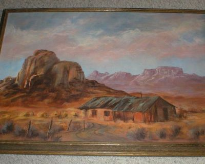 SouthWest Bunkhouse Original Oil on Canvas - Signed Dated 1977