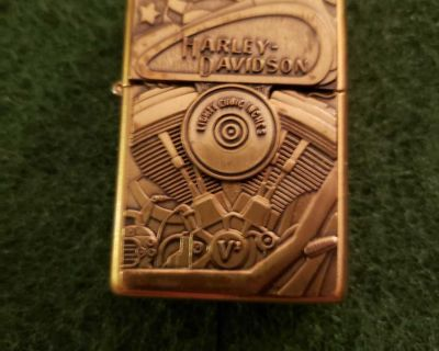 Rare Harley Davidson Brass V Twin Eighty Cubic Inches Engine Electric Zippo Lighter