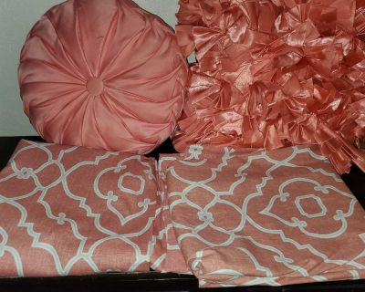 1 set of curtain panels and 2 pillows