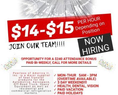 1st Shift $14-$15 Machine Operator