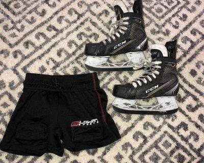 Youth hockey skates & jock shorts