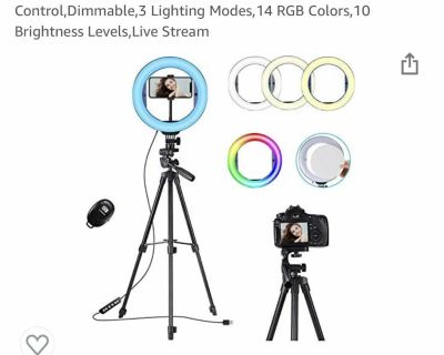 Selfie ring light with mirror and tripod stand