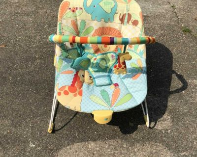 Nice Condition Bright Starts Baby Bouncer - soothes baby w/ vibrations & melodies & Hanging Toy Arm - Very Clean - needs batteries