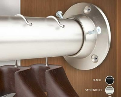 "New Rod Desyne C-1945-DP150-285 1.5"" Premium Heavy Duty Adjustable Closet Socket Set, 28 x 48"", Satin Nickel"