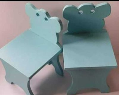 Childs Vintage Wood Chairs - set of 2, chalk painted, could be distressed, lightly sealed, handmade vintage kids chairs