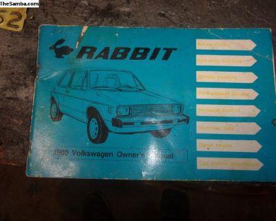 1980 vw Rabbit owners manual