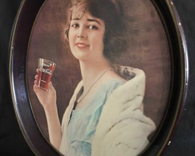 VINTAGE 1973 coca cola tray reproduction of 1923 oval with flapper girl