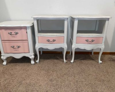 3 side antique side tables nightstands pottery barn style